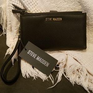 Authentic Steve Madden double zip black wristlet